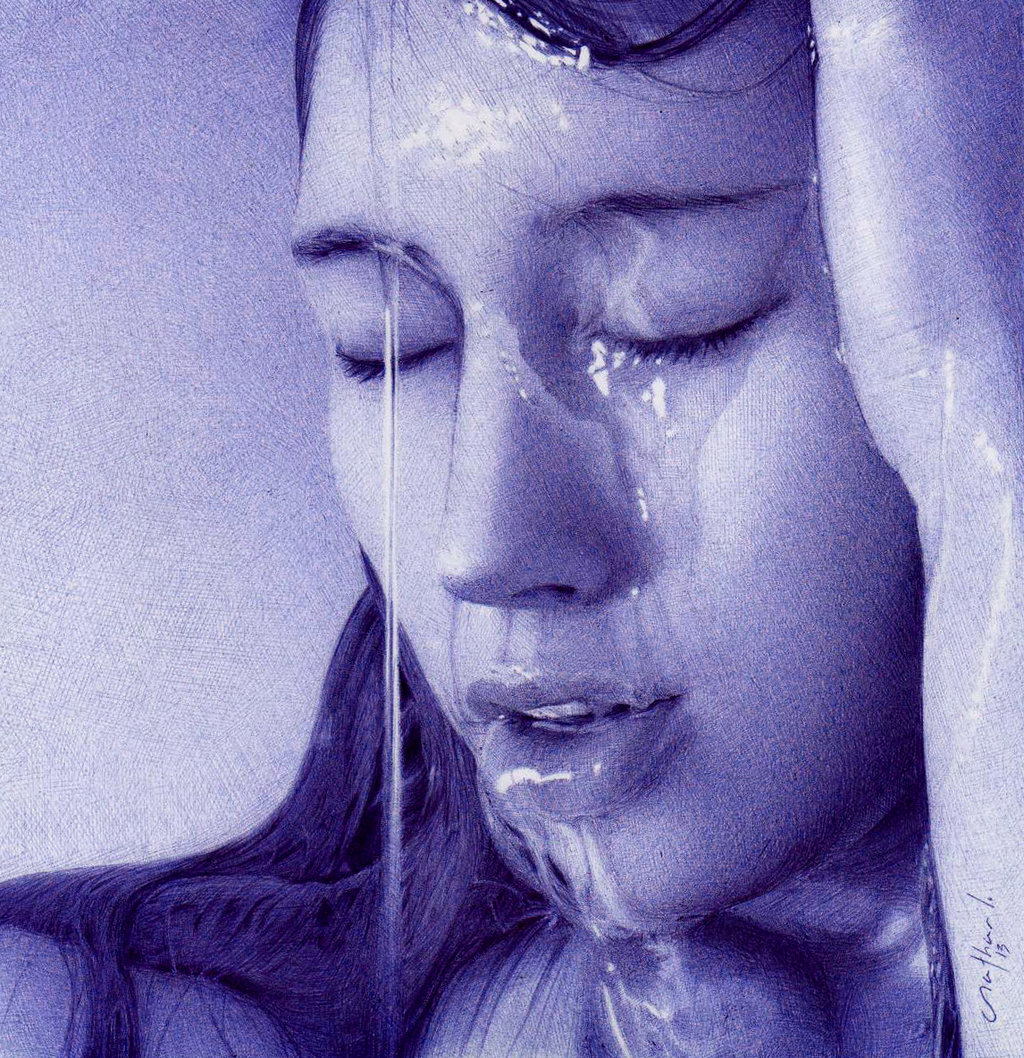 girl-with-water-dripping-ballpoint-pen