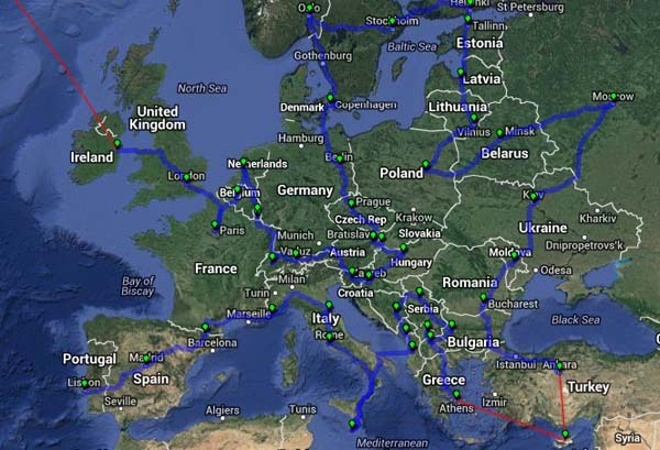 Shortest route to visiting each European capital