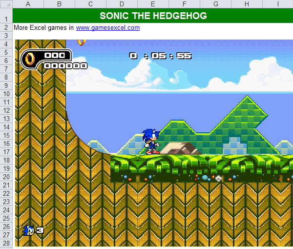 sonic the hedgehog in excel