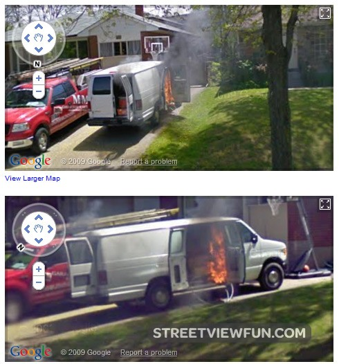 burning-van-in-canada-google-maps