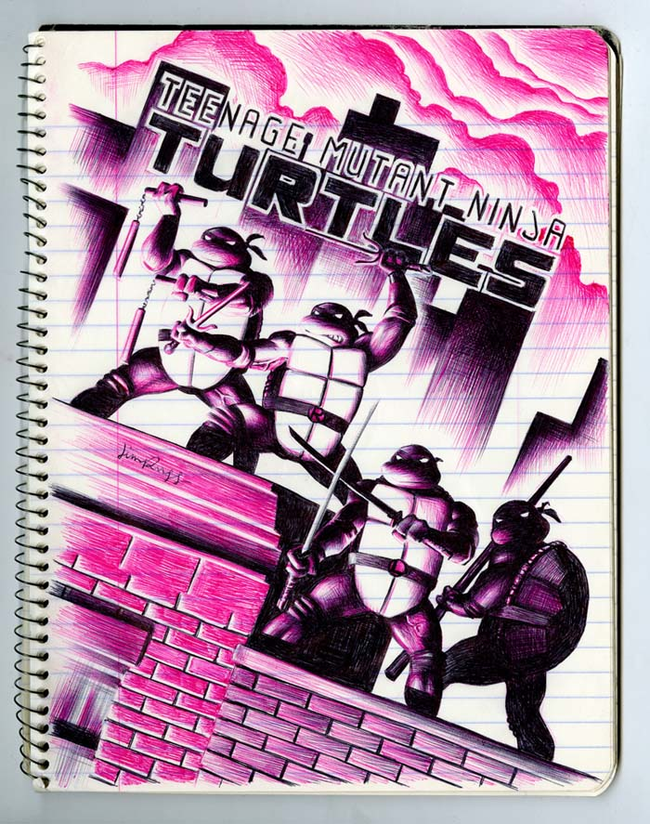 ballpoint pen artwork of ninja turtles